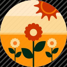 countryside, farm, flowers, good, plant, sun icon