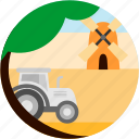 countryside, farm, farming, good, tractor, tree, windmill icon