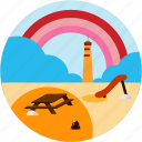 beach, cloud, good, picnic, rainbow, table icon