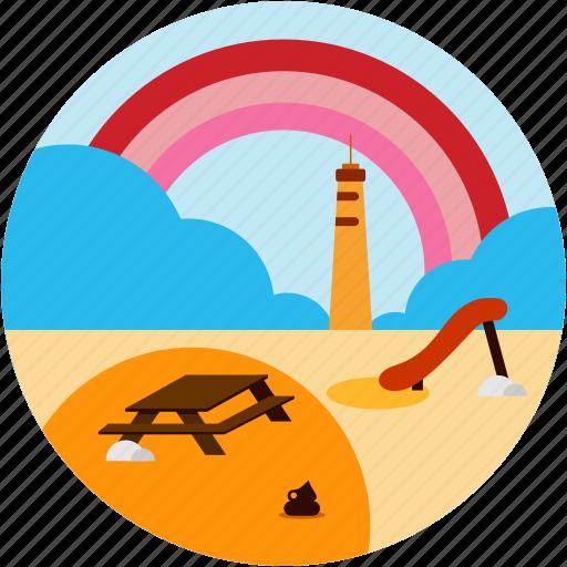 beach, cloud, good, picnic, rainbow, table icon