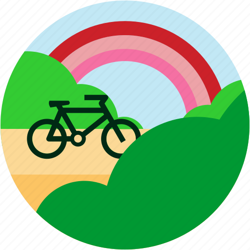 bike, bush, countryside, good, rainbow icon