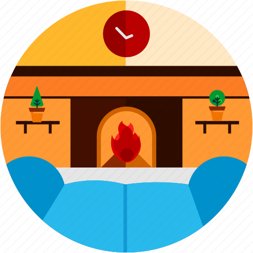 clock, couch, fireplace, good, livingroom, plant icon