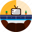 couch, good, light, livingroom, plant, tv icon