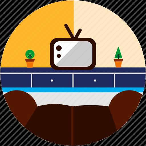 couch, good, light, livingroom, plant, tv icon