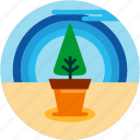cloud, good, plant, pot, rainbow, tree icon