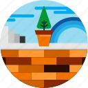 cloud, good, plant, pot, rainbow, tree, wall icon