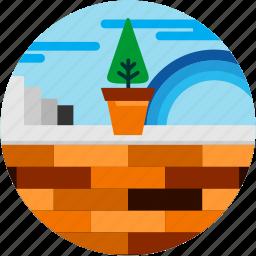 cloud, good, plant, pot, rainbow, tree, wall icon