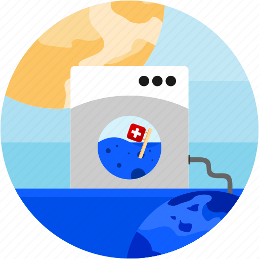 earth, flag, flood, mashine, sun, swiss, washing icon