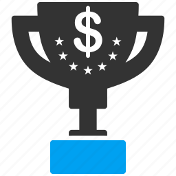 award, first place, gold cup, money, success, trophy, winner icon
