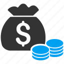 bank, cash, dollar, finance, fund, money bag, payment icon