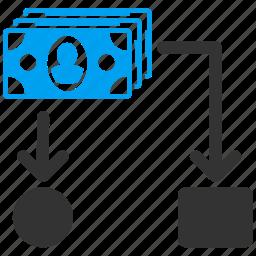 business report, cash flow, diagram, financial chart, flowchart, optimization, scheme icon