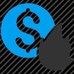 burn, damage, dollar, finance, financial, fire disaster, money icon