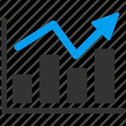 analytics, bar chart, diagram, graph, report, statistics, trend icon