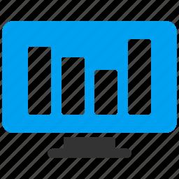 analytics, bar chart, graph, monitor, monitoring, report, statistics icon
