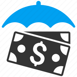 banknotes, comfort, finance, insurance, protection, safety, umbrella icon