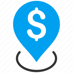 bank place, finance, location, map pointer, money, placement, position icon