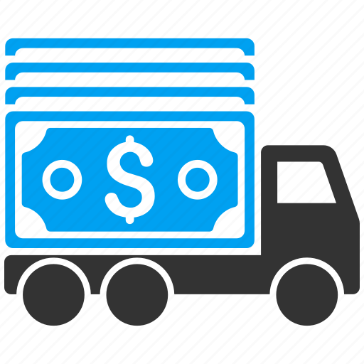 cash delivery, collector car, finance, lorry, money transfer, payment, transport icon