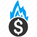 bankruptcy, burn, danger, fire damage, flame, insurance, problem icon