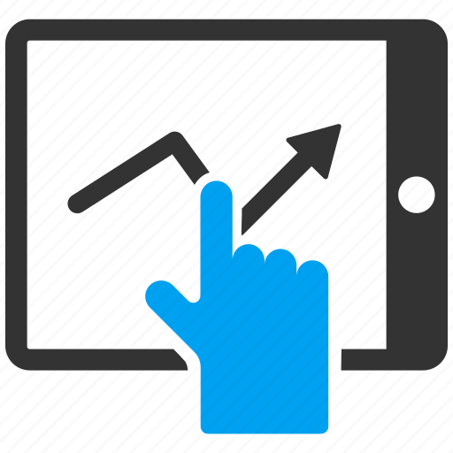 graph, mobile report, pda, sales chart, statistics, tap, trend icon