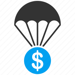 chute, drop, finance, landing, parachute, pension, save icon