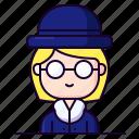 agent, avatar, detective, female, profession icon