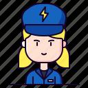 avatar, electrician, female, profession icon