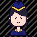 attendant, avatar, female, flight, profession icon