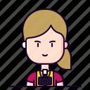 avatar, female, photographer, profession icon