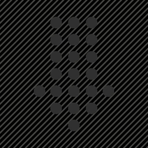 arrow, backward, below, dotted arrow, down, download, reverse icon