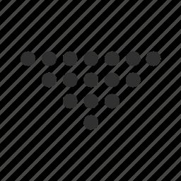 arrow, backward, below, dotted triangle arrow, down, download, open icon