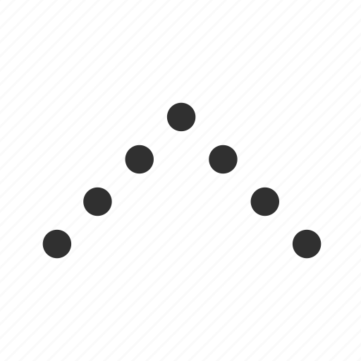 above, arrow, dotted v arrow, forward, straight ahead, up, upload icon
