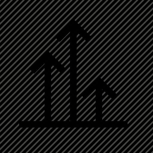 arrow, business, develop, grow, up icon