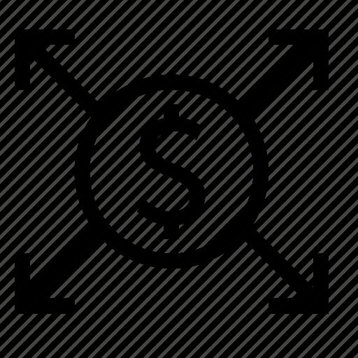 arrow, audit, business, distribution, finance, money icon