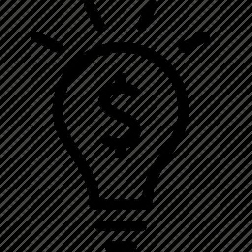 business, finance, idea, lightbulb, money, solution icon
