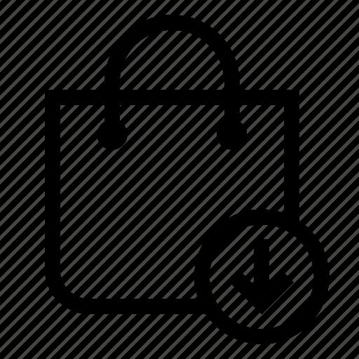 arrow, bag, market, shopping, store icon