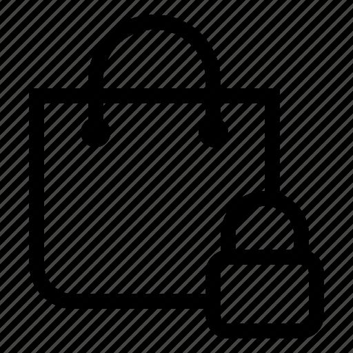 bag, lock, market, shopping, store icon