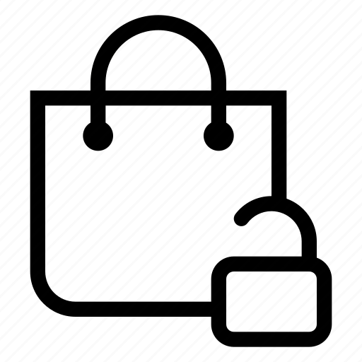 bag, market, shopping, store, unlock icon