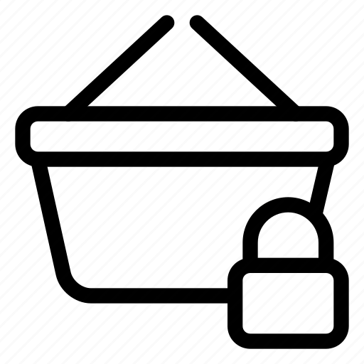basket, lock, market, shopping, store icon