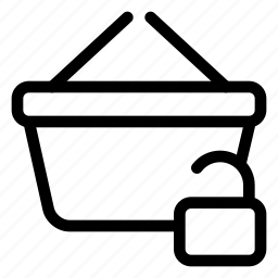 basket, market, shopping, store, unlock icon