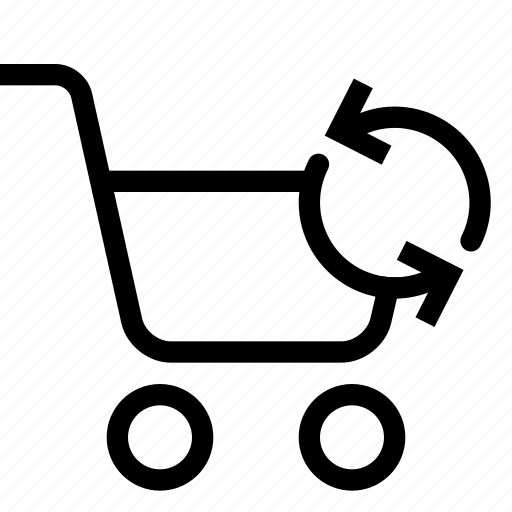 cart, shopping, strolley, supermarket, sync icon