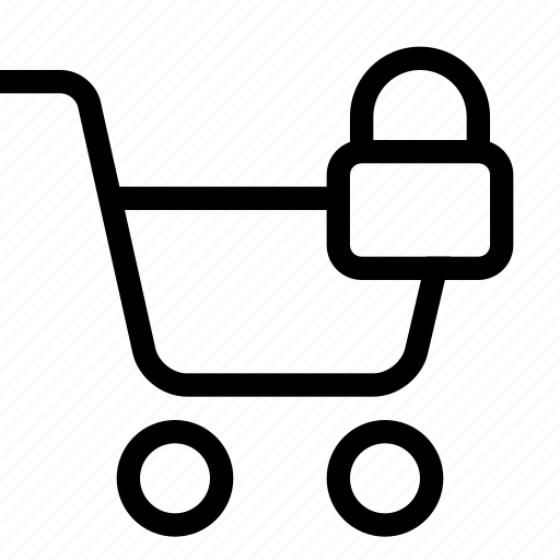 cart, lock, shopping, strolley, supermarket icon