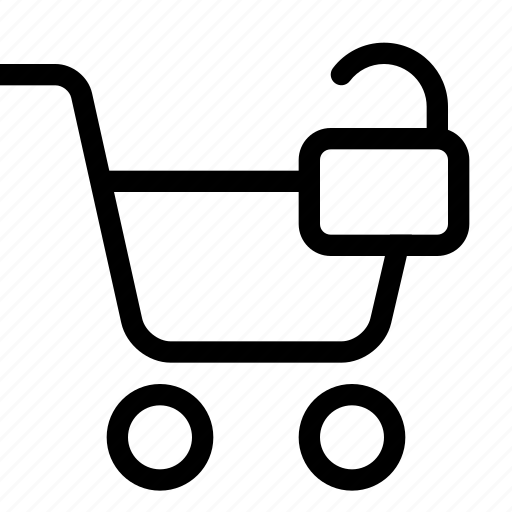 cart, shopping, strolley, supermarket, unlock icon