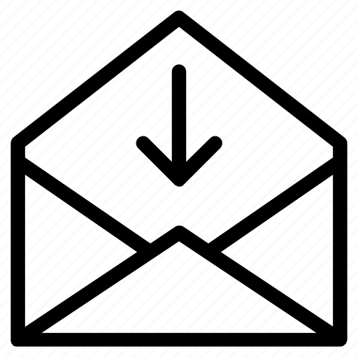 arrow, data, down, download, email, mail, outline icon