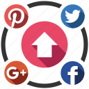 seo, seo pack, seo services, social, social media, upload, web designer icon