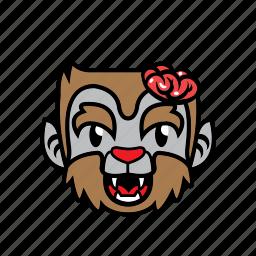 avatar, brain, halloween, smile, wolf icon
