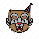 avatar, birthday, halloween, smile, wolf icon