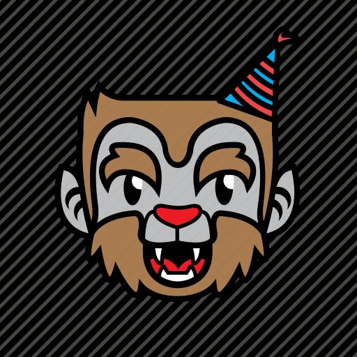 avatar, birthday, halloween, smile, wolf icon