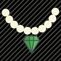 diamond, jewel, jewellery, necklace, party, pearl, wear icon