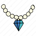 diamond, jewel, jewellery, necklace, party, pearl, wear icon