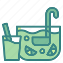 alcohol, beverage, bowl, drink, fruit, glass, punch icon